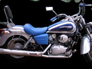 Sellerie shadow complète avec poignées et habillage de caches en cuir bleu
